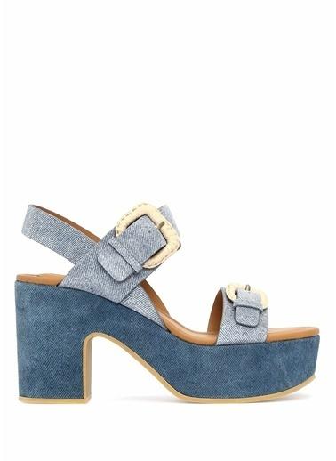 See By Chloe Kalın Topuklu %100 Deri Sandalet Mavi